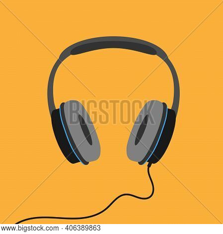 Stereo Headphones Isolated On Orange Background, Listen To Music Or Podcast Vector Illustration