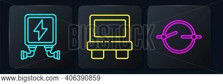 Set Line Electric Transformer, Electric Circuit Scheme And Fuse. Black Square Button. Vector