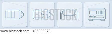 Set Line Battery Charge Level Indicator, Resistor Electricity, Battery Charge Level Indicator And El