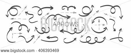 Black Arrow Icons. Grunge Arrows. Hand Drawn Arrows. Set Of Vector Curved Arrows. Sketch Doodle Styl