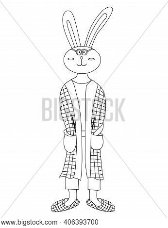 Cute Cartoon Rabbit Coloring Page. Rabbit In Robe And Slippers. Rabbit Wake Up In The Morning. Color