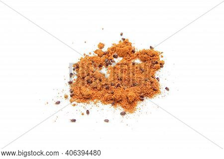 The Red Curry Powder Infested With Food Beetles. A Detail Od The Parasites Inside The Spice.