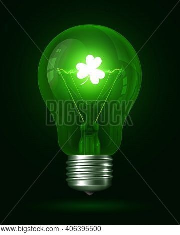 Clover Lamp. Realistic Green Glowing Light Bulb. Inside The Lamp Is Incandescent Filament With Glowi