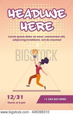 Girl Having Brilliant Idea. Woman Holding Shining Lightbulb And Dancing Flat Vector Illustration. In