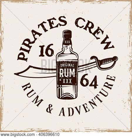 Bottle Of Rum And Saber Vector Pirate Emblem In Vintage Style Isolated On Background With Removable