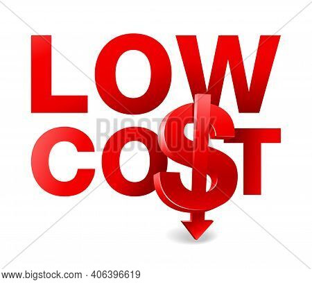 Low Cost, Special Offer Slogan With Red Letters And Combination Of 3d Dollar Sign And Arrow Down