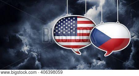 Usa And Czech Republic Communication. Trade Negotiation Talks. 3d Rednering