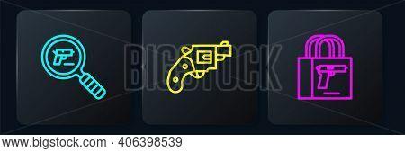 Set Line Pistol Or Gun Search, Buying Pistol And Small Revolver. Black Square Button. Vector