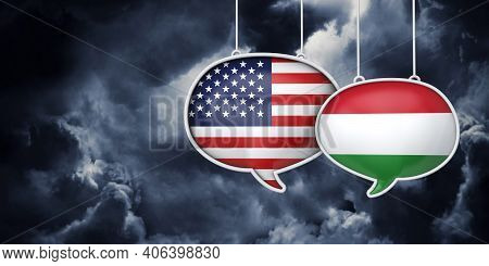 Usa And Hungary Communication. Trade Negotiation Talks. 3d Rednering