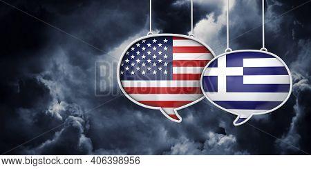 Usa And Greece Communication. Trade Negotiation Talks. 3d Rednering