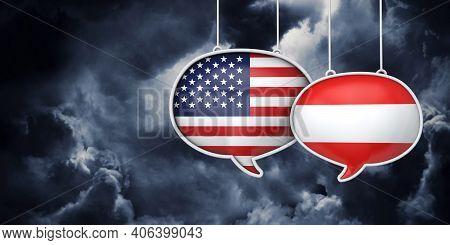 Usa And Austria Communication. Trade Negotiation Talks. 3d Rednering