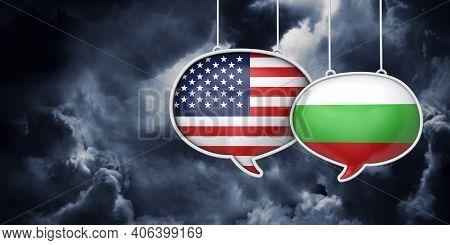 Usa And Bulgaria Communication. Trade Negotiation Talks. 3d Rednering