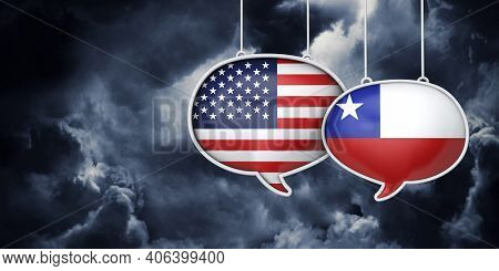Usa And Chile Communication. Trade Negotiation Talks. 3d Rednering
