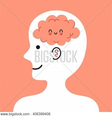 Cute Human Head In Profile With Happy Brain Inside. Good Mood, Mental, Emotional Condition Concept.