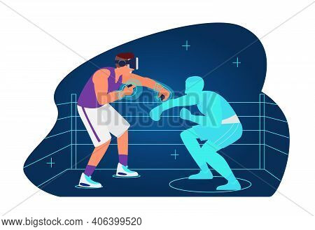 Vr Workout And Sport Concept Vector Illustration. Man In Vr Headset Boxing With Virtual Opponent On