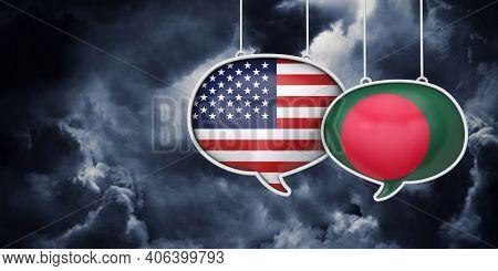 Usa And Bangladesh Communication. Trade Negotiation Talks. 3d Rednering