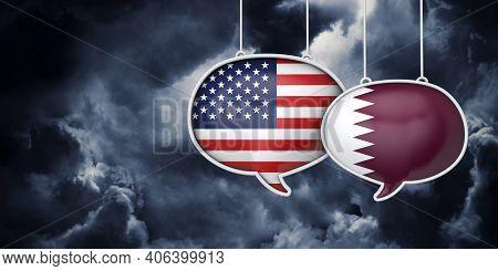 Usa And Qatar Communication. Trade Negotiation Talks. 3d Rednering