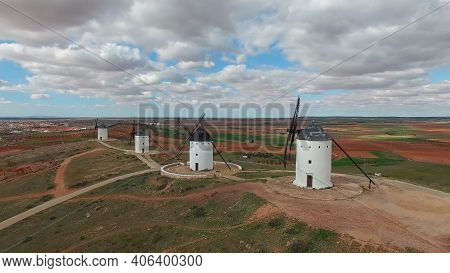 Landscape Of Old White Mills Typical Of Spain. Consuegra, Toledo. Castilla La Mancha, Spain.