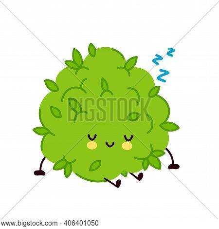 Cute Funny Marijuana Weed Bud Character Sleep. Vector Flat Line Cartoon Kawaii Character Illustratio