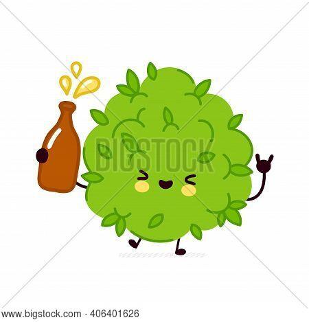Cute Funny Marijuana Weed Bud Character Drink Alcohol. Vector Flat Line Cartoon Kawaii Character Ill