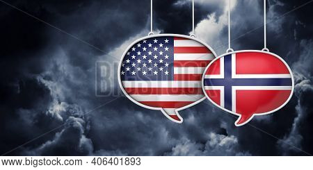 Usa And Norway Communication. Trade Negotiation Talks. 3d Rednering