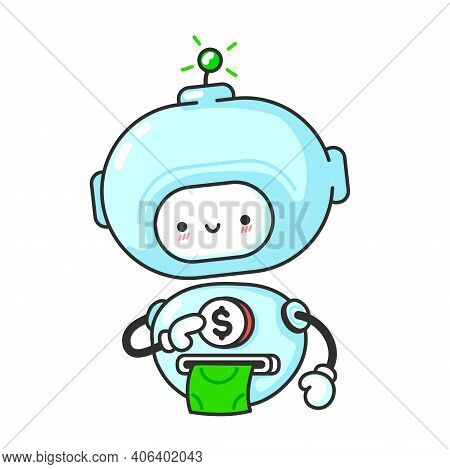 Funny Cute Robot, Chat Bot Prints Money. Vector Flat Line Cartoon Kawaii Character Illustration Icon