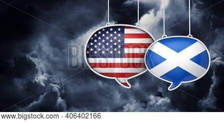 Usa And Scotland Communication. Trade Negotiation Talks. 3d Rednering