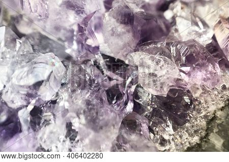 Macro Photo Of Sparkling Crystals Of White, Magenta And Violet Amethyst, Semi Precious Minerals, Nat