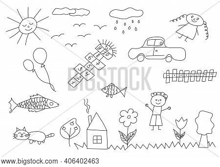 Set Of Hand Drawn Cute Doodles. Happy Children Doodle. Doodle Children Drawing. Collection Of Elemen