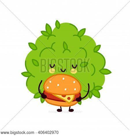 Cute Funny Marijuana Weed Bud Character With Burger. Vector Flat Line Cartoon Kawaii Character Illus
