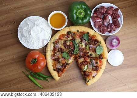 Tasty Pizza Closeup With Spicy