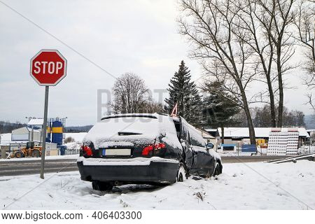 Abandoned Car In The Ditch After The Traffic Accident. The Driver Didn´t Give Way To The Other Car.