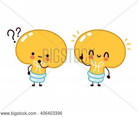 Cute Funny Light Bulb, Lamp Character With Question Mark And Idea Lightbulb. Vector Flat Line Cartoo