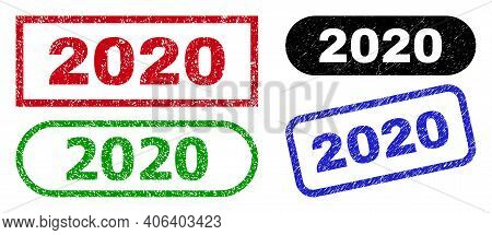 2020 Grunge Watermarks. Flat Vector Grunge Watermarks With 2020 Slogan Inside Different Rectangle An