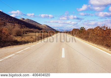 Balkan Road Trip.  Winter Landscape With Road In Valley Of Dinaric Alps.  Bosnia And Herzegovina, Re
