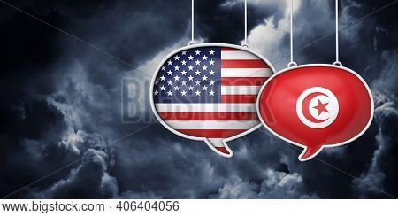 Usa And Tunisia Communication. Trade Negotiation Talks. 3d Rednering