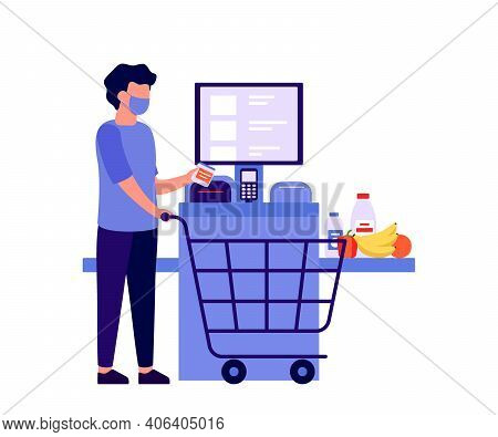 Self Checkout Shop. Man Paying For Products At Electronic Device. Self-service Cashier On Terminal W