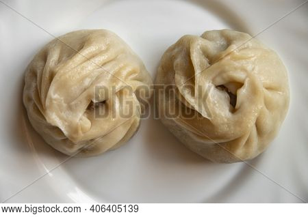 Buryat Delicious Buuz On A Plate. View From Above.