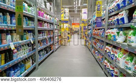 St. Petersburg, Russia - January 20, 2021: Top Russian Supermarket Is One Of Largest Players Of Reta