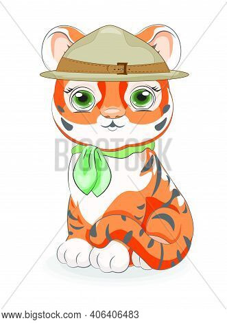 Cute  Baby Tiger Cub Scout In Hat With Bow, Picture In Hand Drawing Cartoon Style, For T-shirt Wear