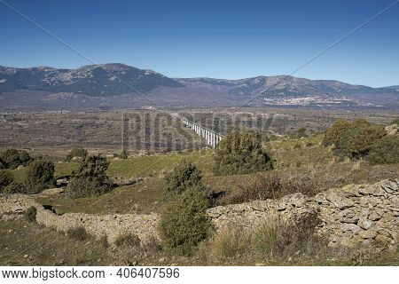 Views Of The High-speed Railway Madrid-segovia-valladolid From The Saint Peter Peak, In The Municipa