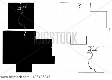 Langlade And Lincoln County, State Of Wisconsin (u.s. County, United States Of America, Us) Map Vect