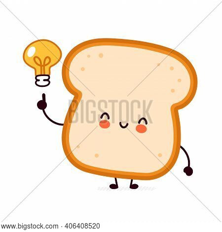Cute Funny Bread Toast Character With Idea Light Bulb. Vector Flat Line Cartoon Kawaii Character Ill