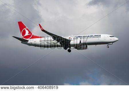 Istanbul, Turkey - March 30, 2019: Turkish Airlines Boeing 737-800 Tc-jgz Passenger Plane Landing At