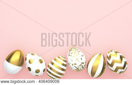 Flat Lay Of Golden Easter Eggs In Row Placed On Pink Background. 3d Rendering