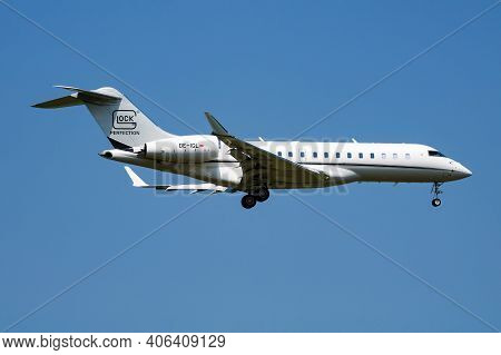 Vienna, Austria - May 13, 2018: Glock Aviation Bombardier Bd-700 Global 6000 Oe-igl Passenger Plane
