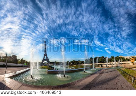 Scenic panorama of the Eiffel Tower in Paris, France