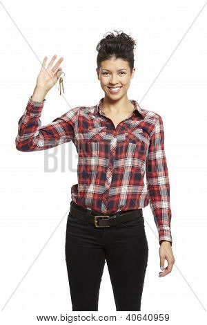 Young Woman Holding Set Of House Keys