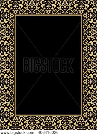 Decorative Frame Elegant Vector Element For Design In Eastern Style, Place For Text. Floral Golden B