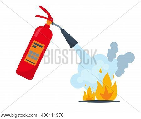 Red Fire Extinguisher And Burning Fire With Smoke. Fire Extinguishing Equipment. Vector Icon Illustr